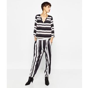 NWT Zara Striped Flowing Pajama Sateen Trousers